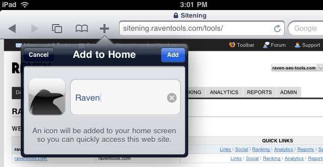 Add to Home on iPad