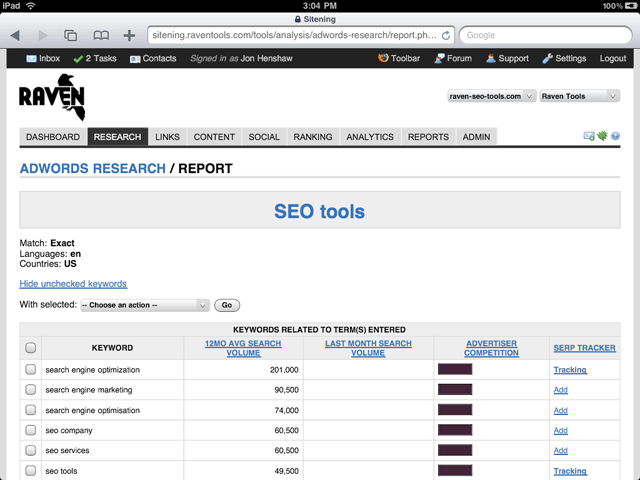 Keyword Research on the iPad