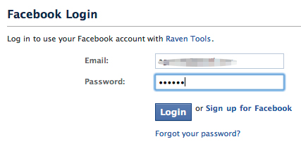 Sign in to authorize the process in Facebook
