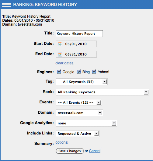 Keyword History Report Option