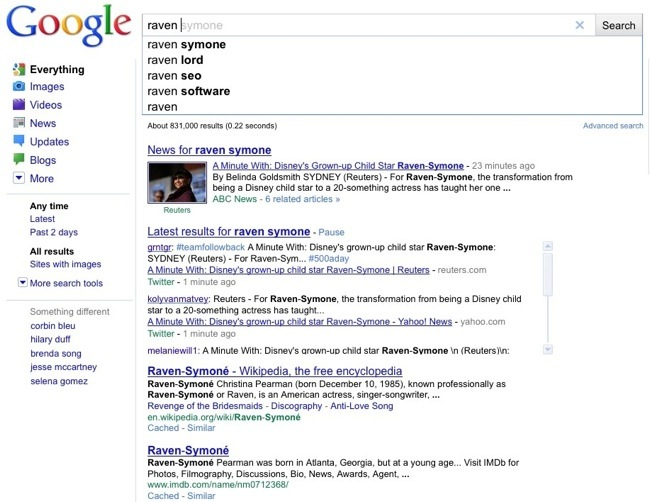 Google Instant Raven Search