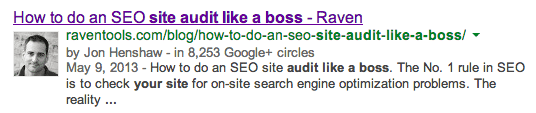 Google Search Result with Authorship Headshot