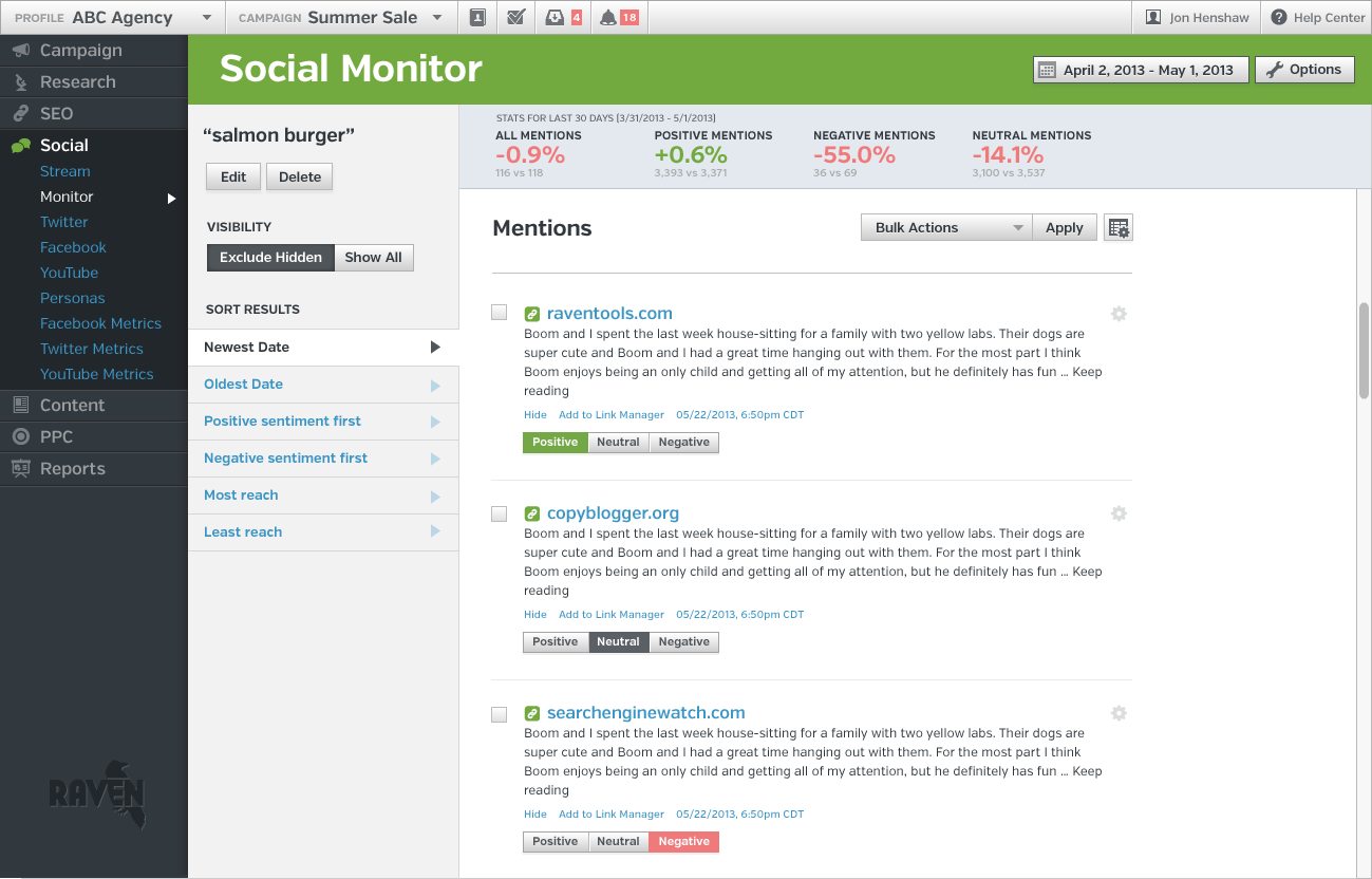 New Raven Social Monitor